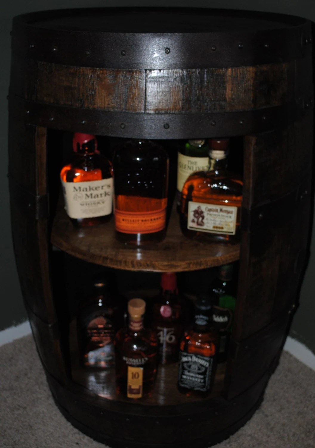 whiskey barrel display liquor cabinet with double by