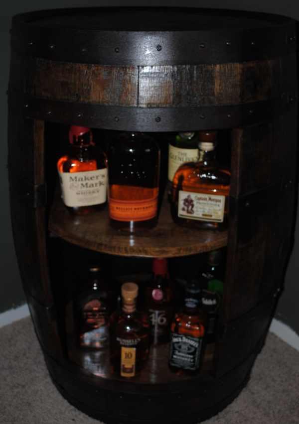 Whiskey Barrel Liquor Cabinet Display