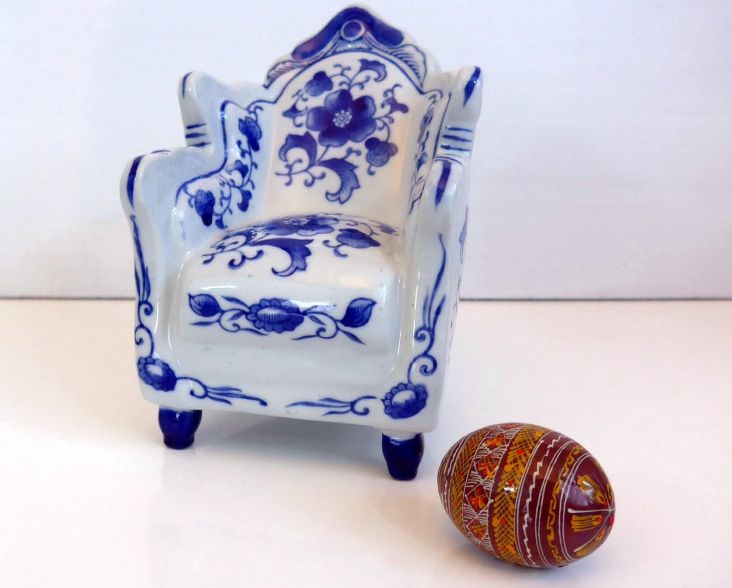 Overstuffed Chair And A Half Vintage Ceramic Blue And White Overstuffed Chair Marked