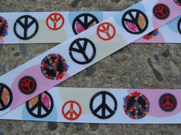 "Peace Ribbon Sign Printed 7 8"" 3 Yards Hair"