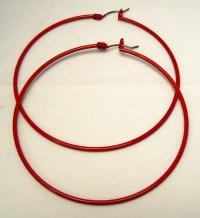 Red Vintage Latch Hoops Large Red Hoop Earrings Upcycle