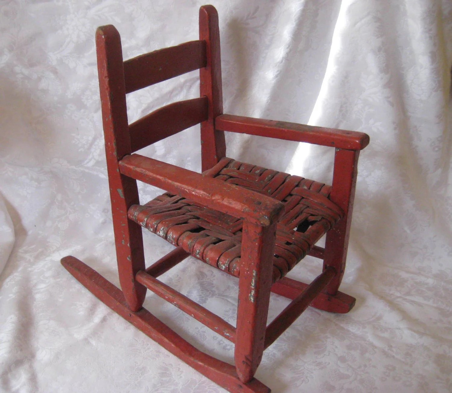 little rocking chairs for toddlers denim chair and a half antique red child 39s rocker by cathysshabbyfarm