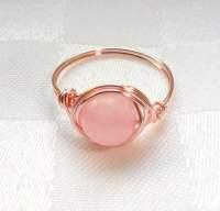 Rose gold wire wrapped rose quartz ring Rose quartz wire
