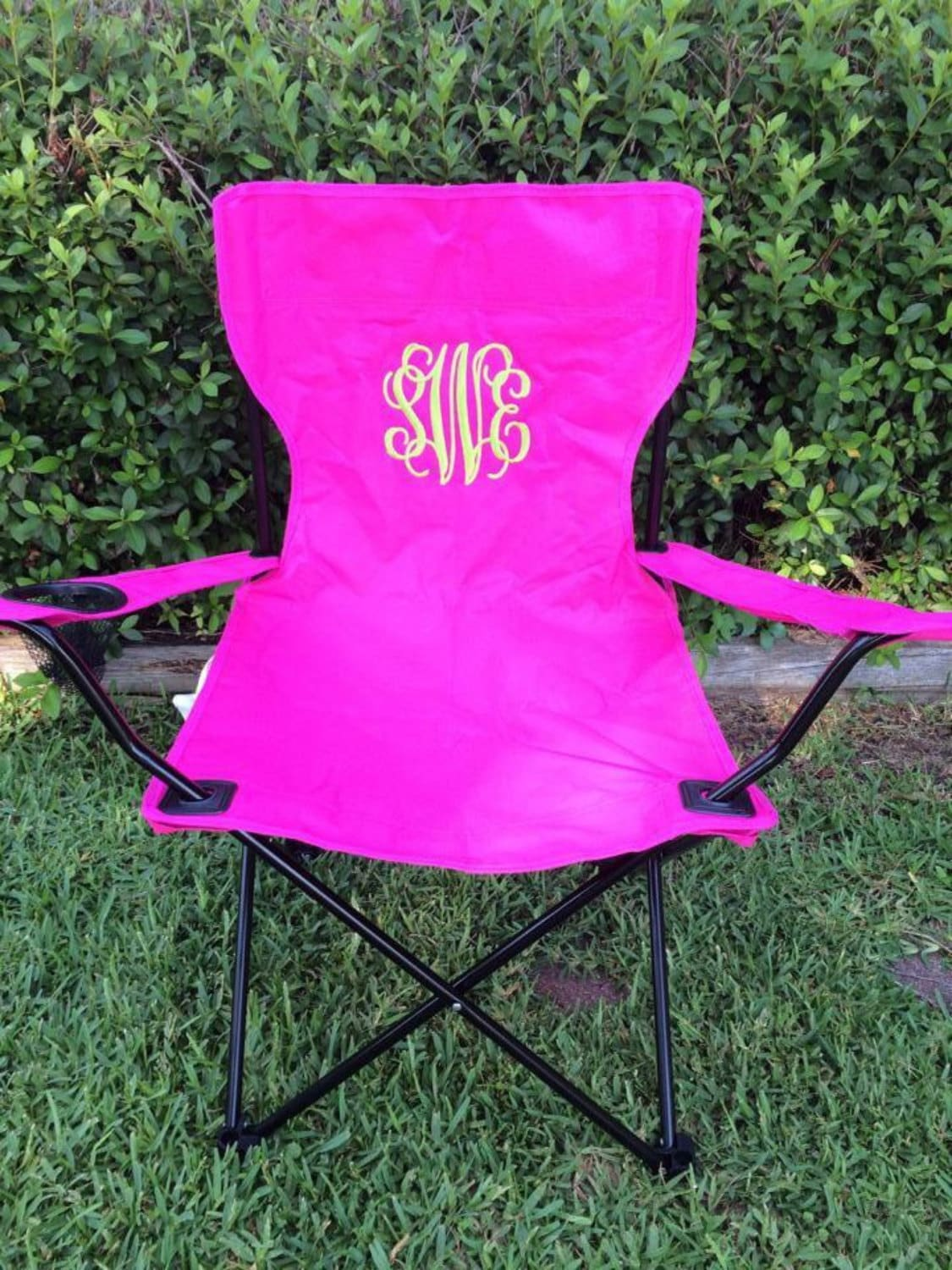 folding chair embroidered kitchen table and sets monogrammed camping by kinandcol on etsy