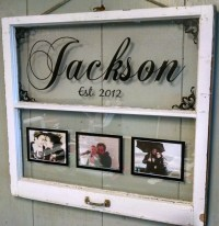 Vintage Window Two Pane Family Name Personalized Picture