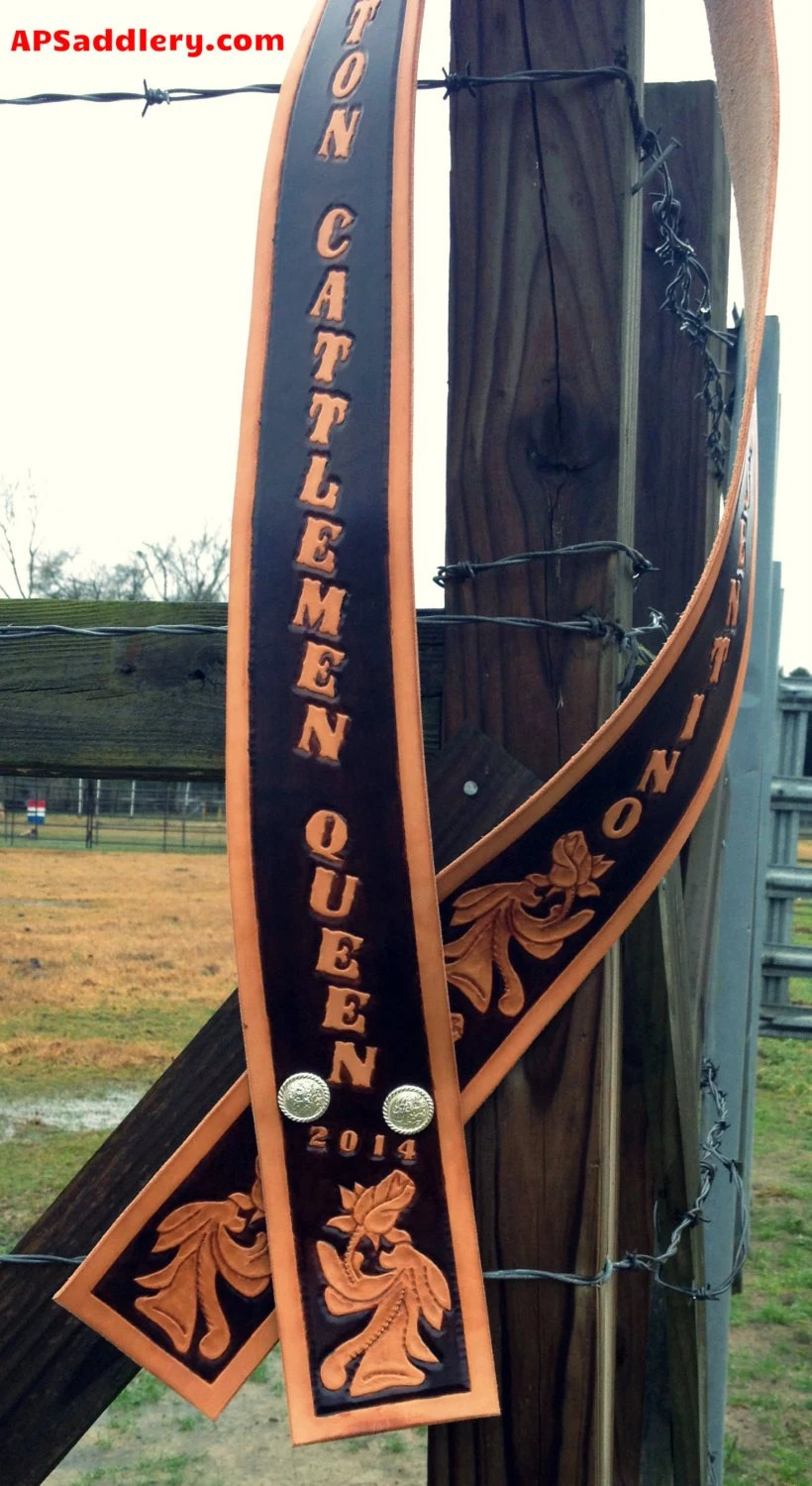 Custom Leather Queen Sash Personalized to your by APSaddlery