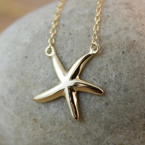 Tiny Gold Starfish Charm Necklace Sterling Silver