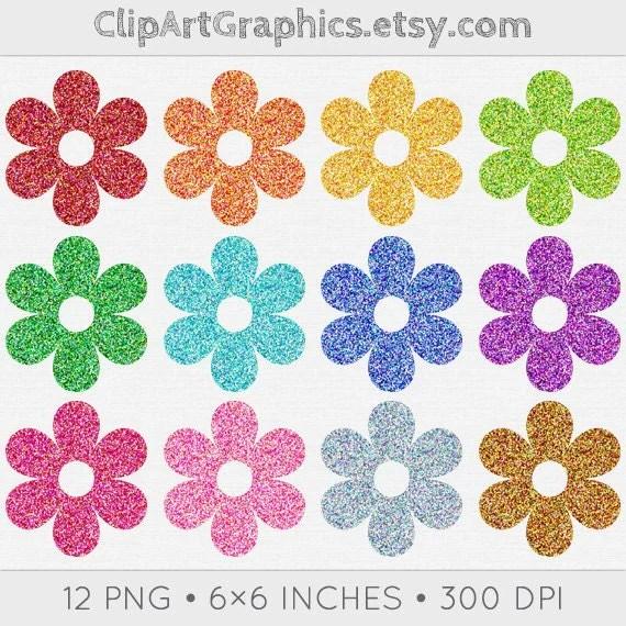 digital glitter flower clip art