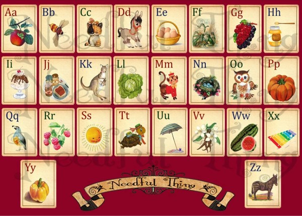 Vintage Paper Alphabet Abc Cards Child Children School