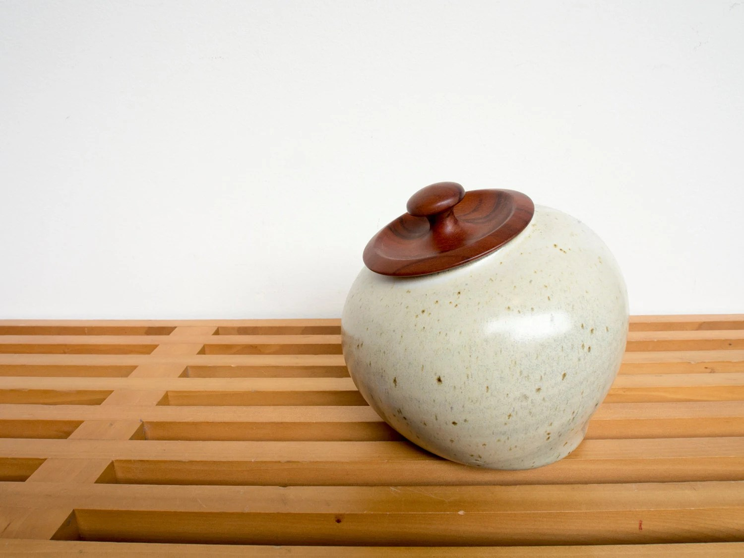 Ceramic Jar With Nicely Crafted Wooden Lid Mid Century