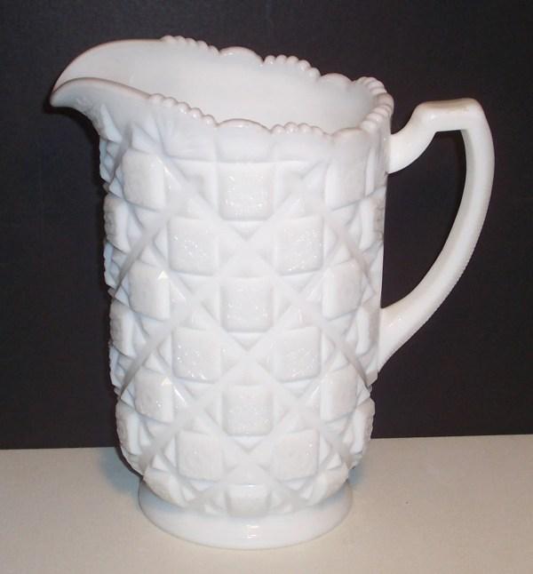 Westmoreland White Milk Glass Pitcher Quilt Block And Star