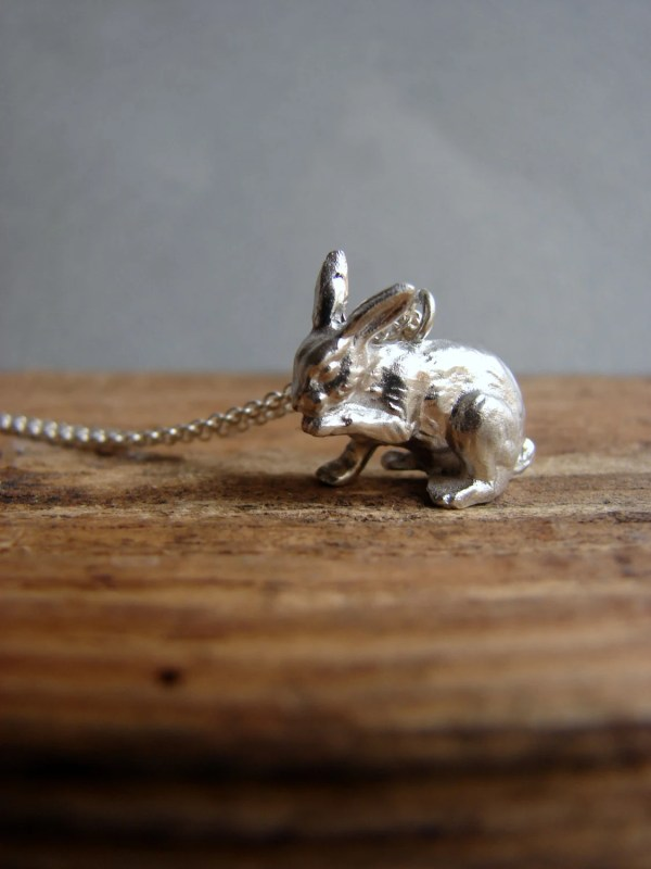 Silver Bunny Necklace Jewelry Easter Animal