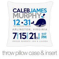 Birth announcement pillow whale new baby gift custom by