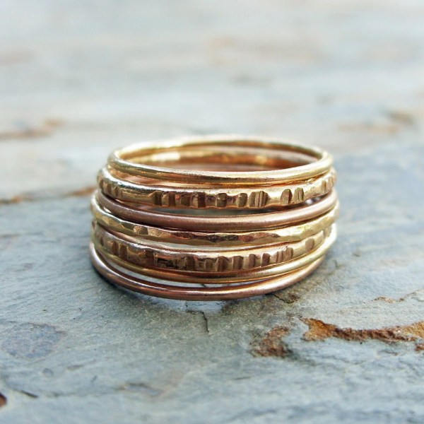 Set Of Seven Solid 14k Rose And Yellow Gold Stacking Rings
