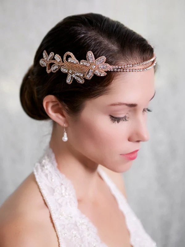 Rose Gold Crystal Headband Rosegold Forehead Chain