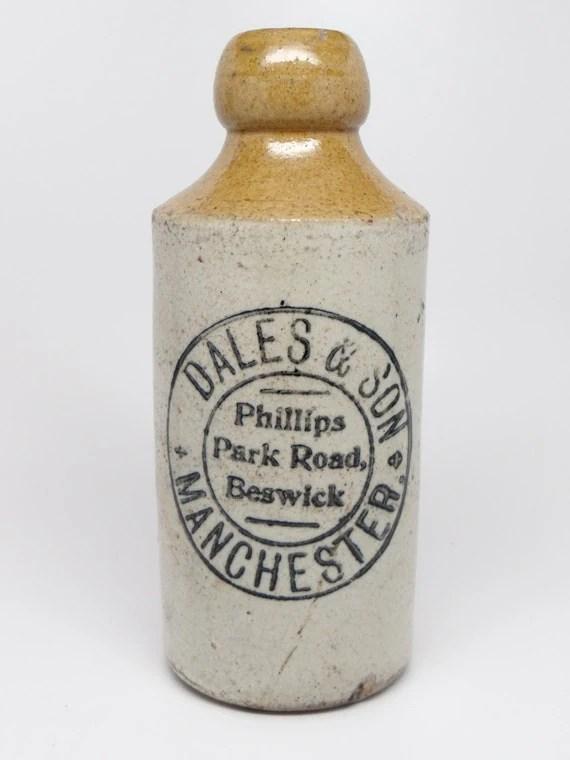 Antique English Ginger Beer Stoneware Bottle Dales  Son