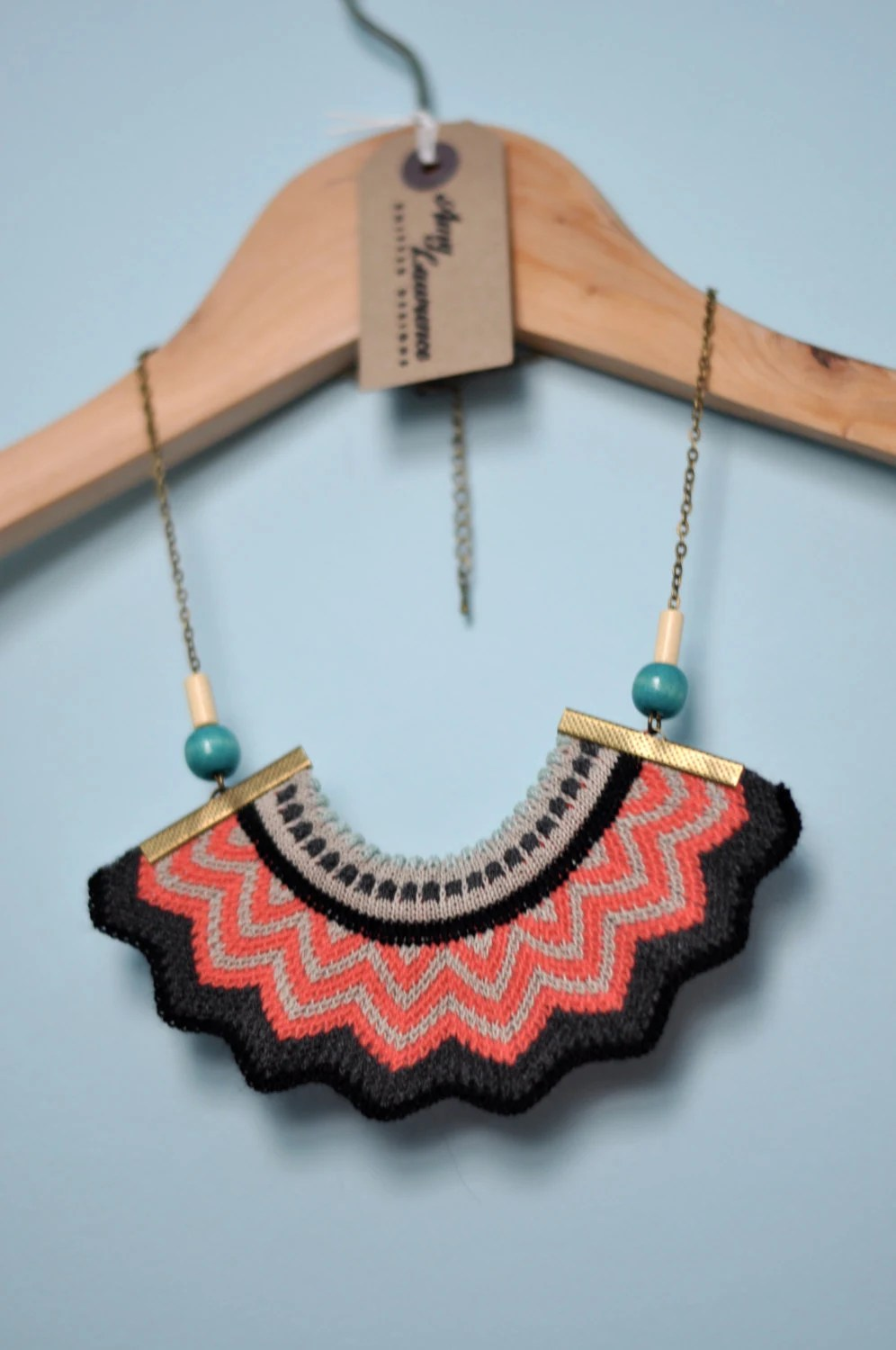 Chevron Crown - knitted coral statement necklace with chain and bead detail