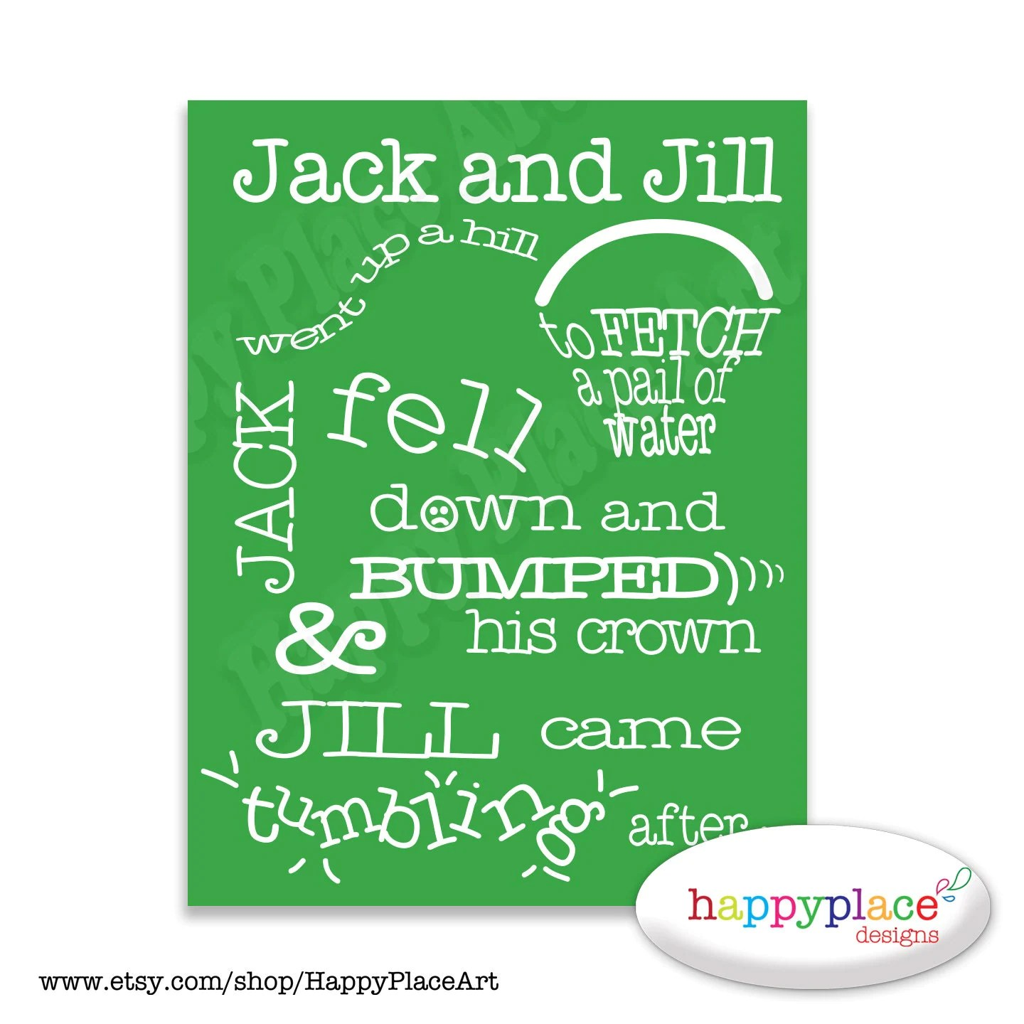 Jack And Jill Printable Wall Art Nursery Rhyme Typography For