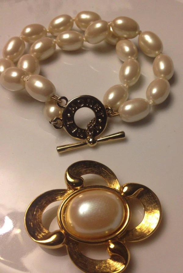 Monet Faux Pearl Bracelet And Brooch Vintage