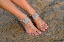 Crochet Silver Barefoot Sandals Foot Jewelry Bridesmaid