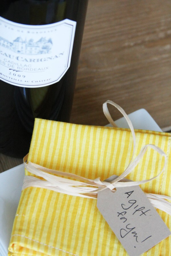 Eco Friendly Cocktail Napkins in Yellow with Yellow Stripes