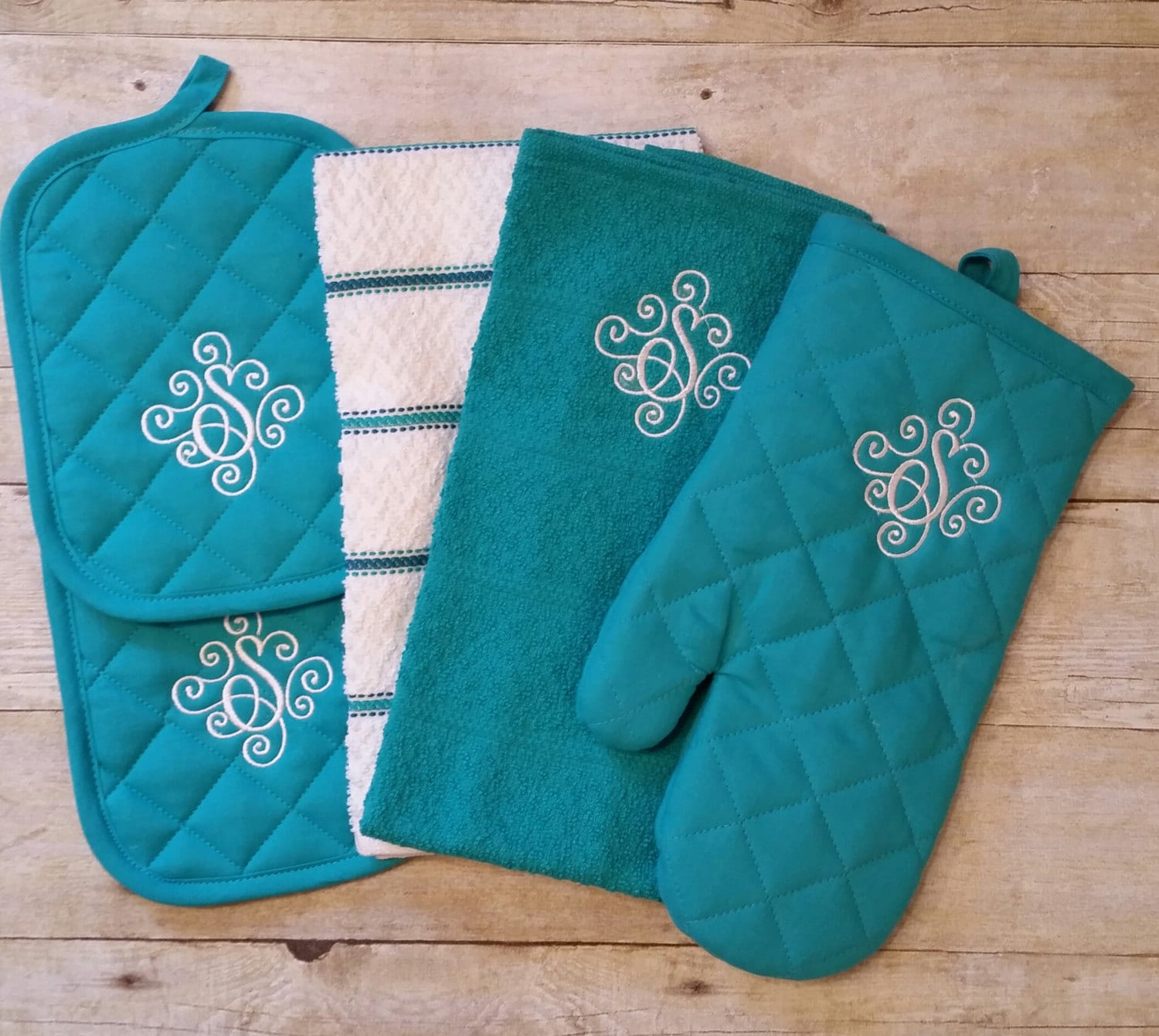 Monogrammed personalized kitchen towel set by OhSewCuteLLC