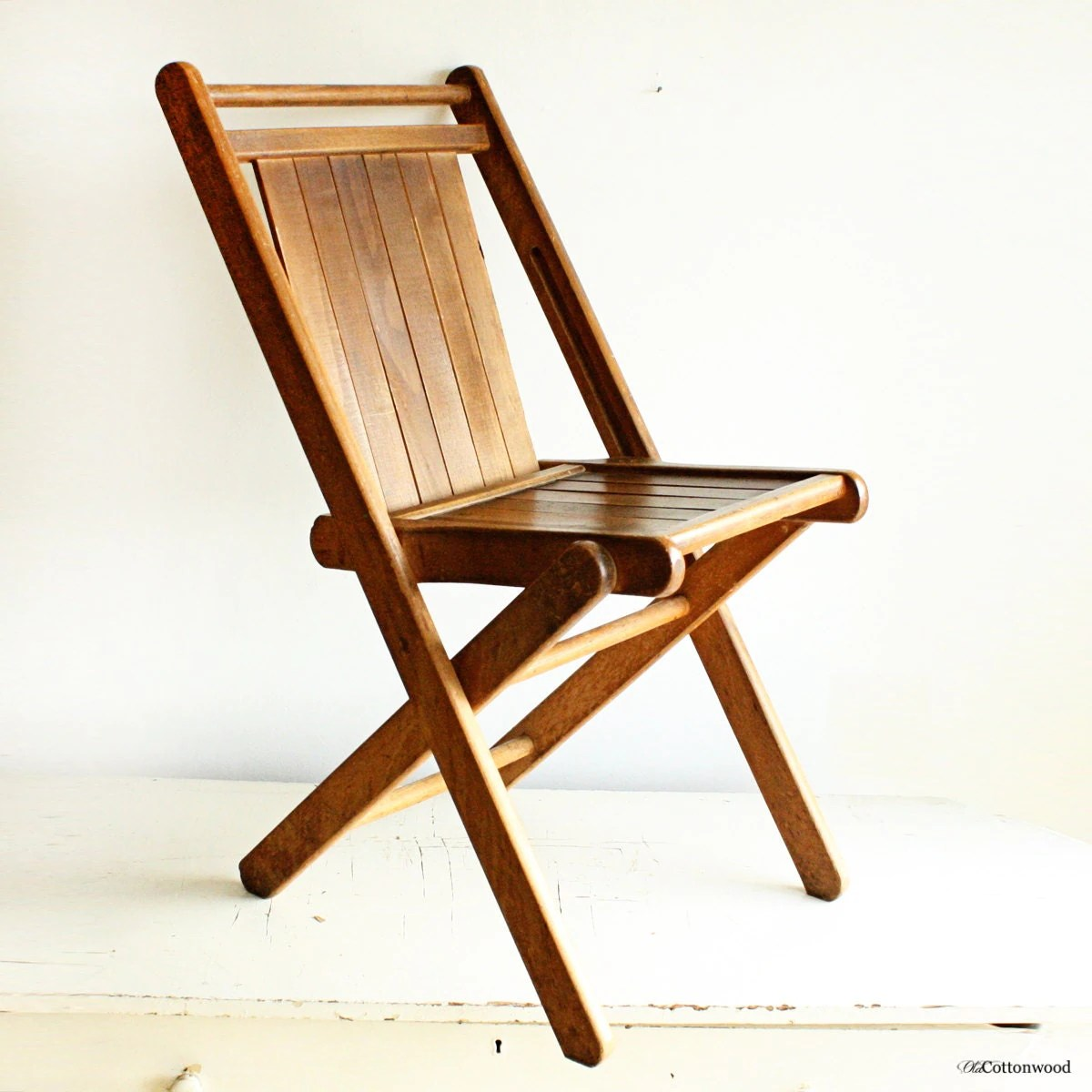 antique folding chair revolving meaning in hindi vintage wood slats all solid hardwood