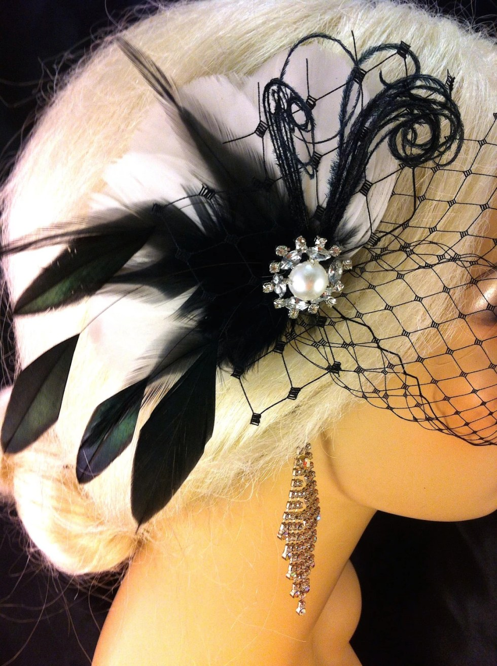 Feather Hair Fascinator, Wedding Hair Clip, Bridal, Prom, Wedding Hairpiece, Great Gatsby, Black and White Birdcage, Veil Set