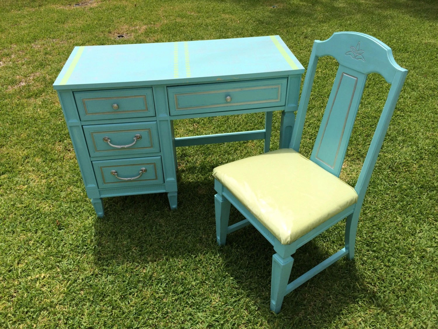 Turquoise Desk Chair Turquoise Desk And Chair Custom Paint Available