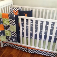 Crib Bedding. Baby Bedding. Boy Crib Set. Navy and Orange