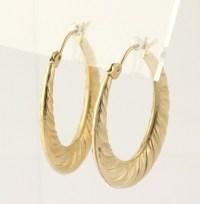 Horseshoe Shaped Hoop Earrings 10k Yellow Gold Pierced Fine