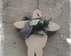 Primitive Hanging Snowman Ornament, Rustic Snowman, Christmas Tree Ornament, Tree Decorations