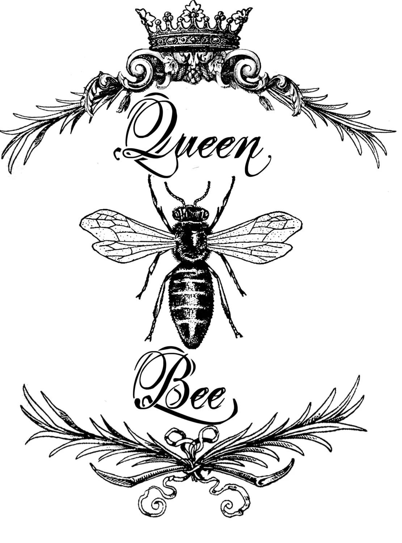 Queen Bee Print Vintage Art