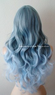 lace front wig. ombre blue