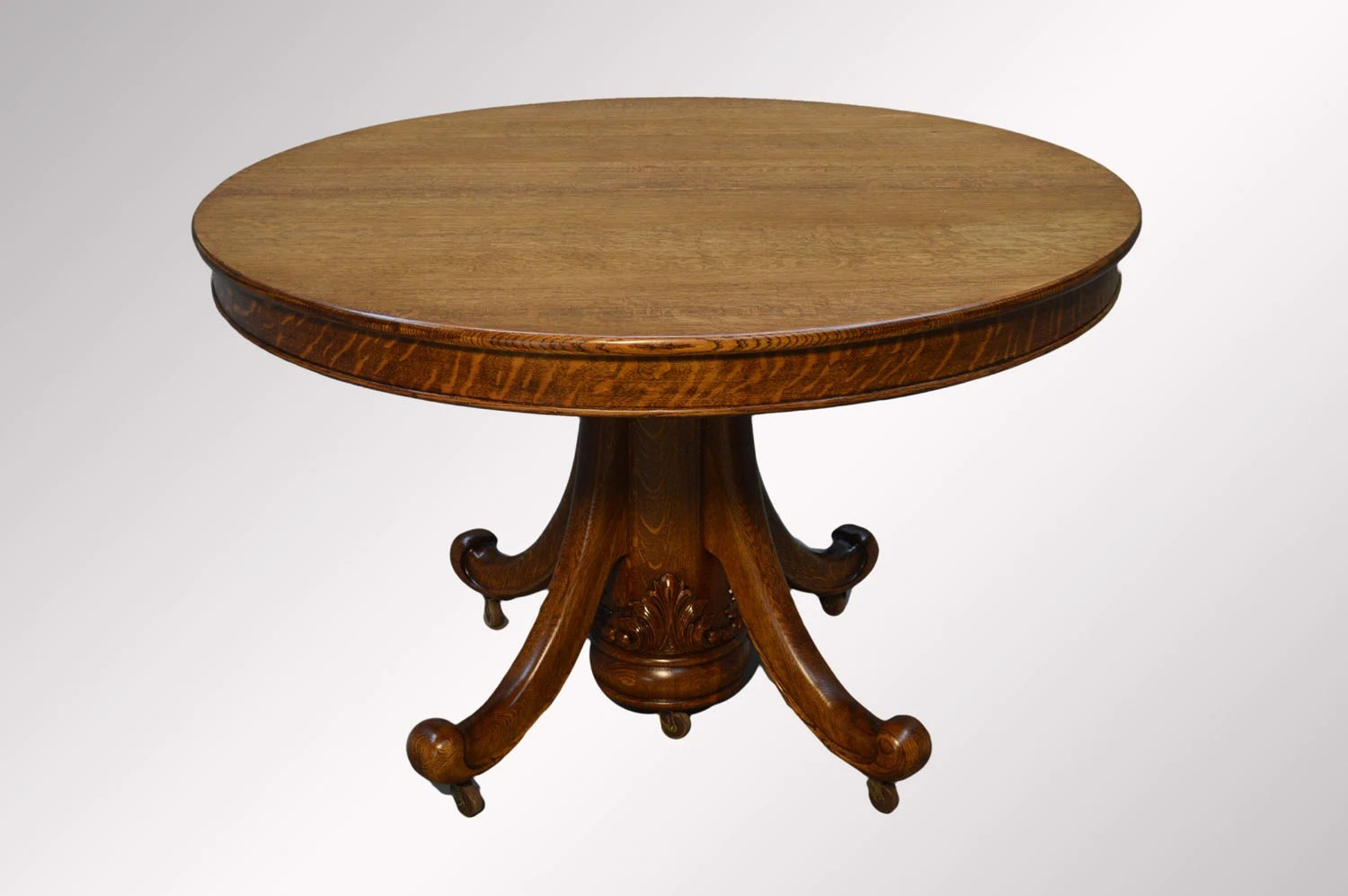 16448a antique tiger sawn 48 round dining table w leaves
