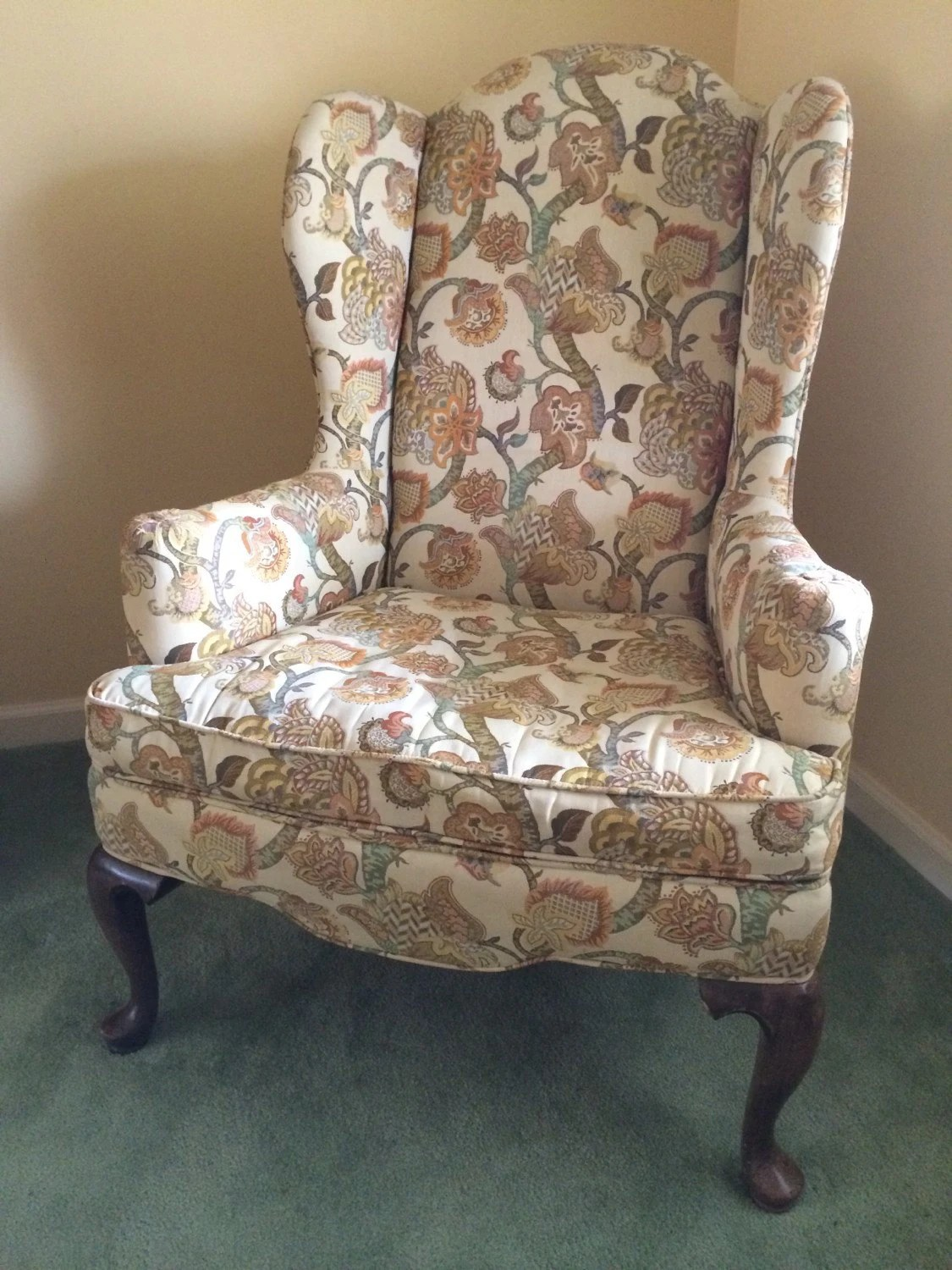 ethan allen wingback chairs antique high back vintage chair