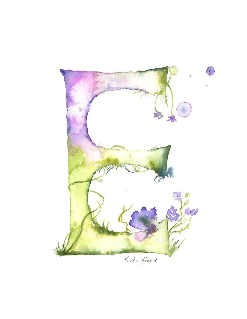 Letter E Watercolor Monogram Flower by MilkandHoneybread
