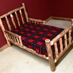 Toddler Chair Bed Royal Blue Accent Cedar Log With Side Rails