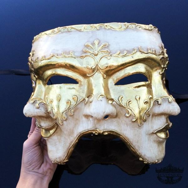 Mens Masquerade Mask Three Face Mardi Gras