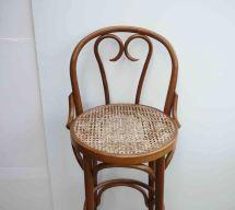 Vintage Rattan Stool Boho Chic Mid Century Chair Bohemian