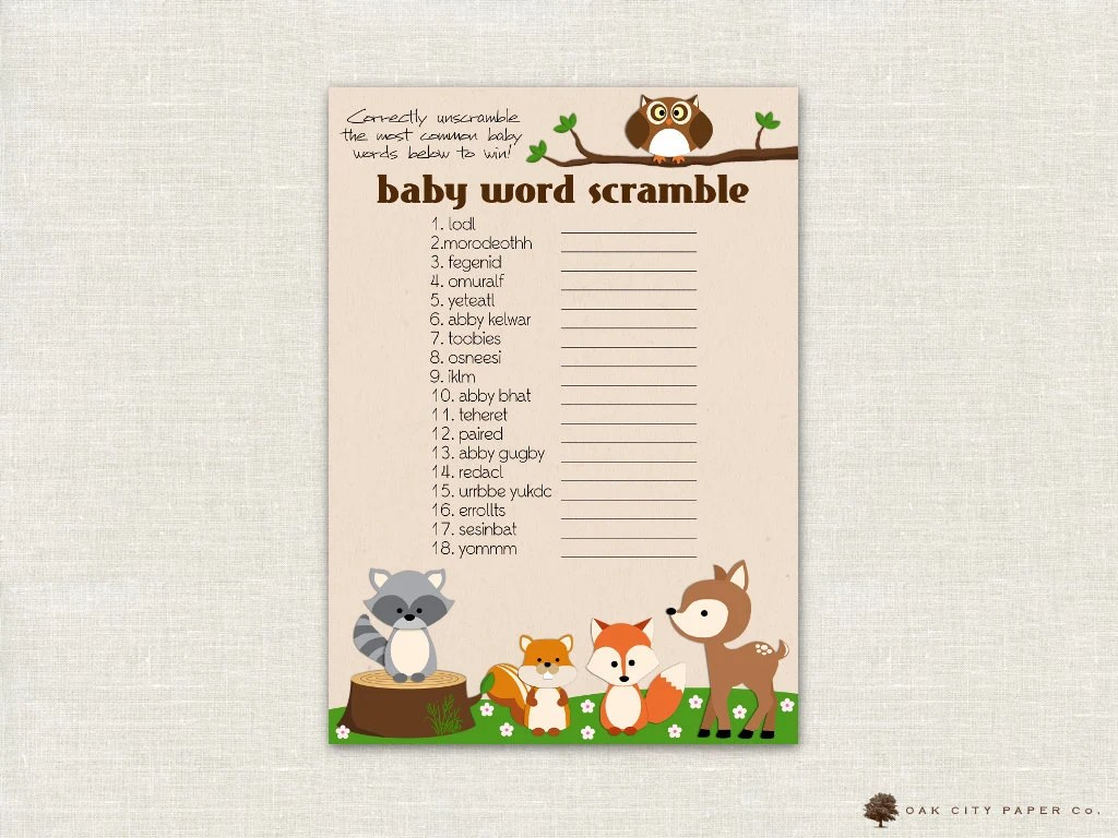 Baby Shower Word Scramble Woodland Animal Theme Baby Shower