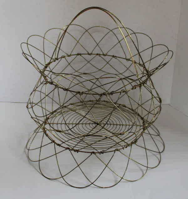 Wire Basket Folding Wire Basket Vintage Basket Decorative