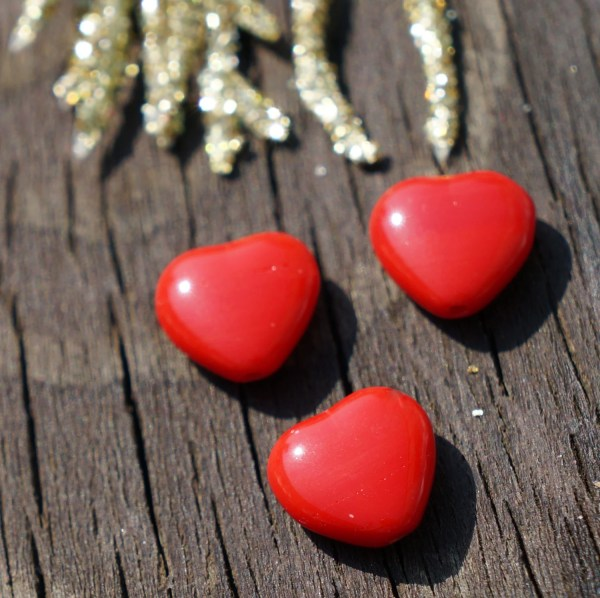 Opaque Red Glass Heart Bead Beads Valentine