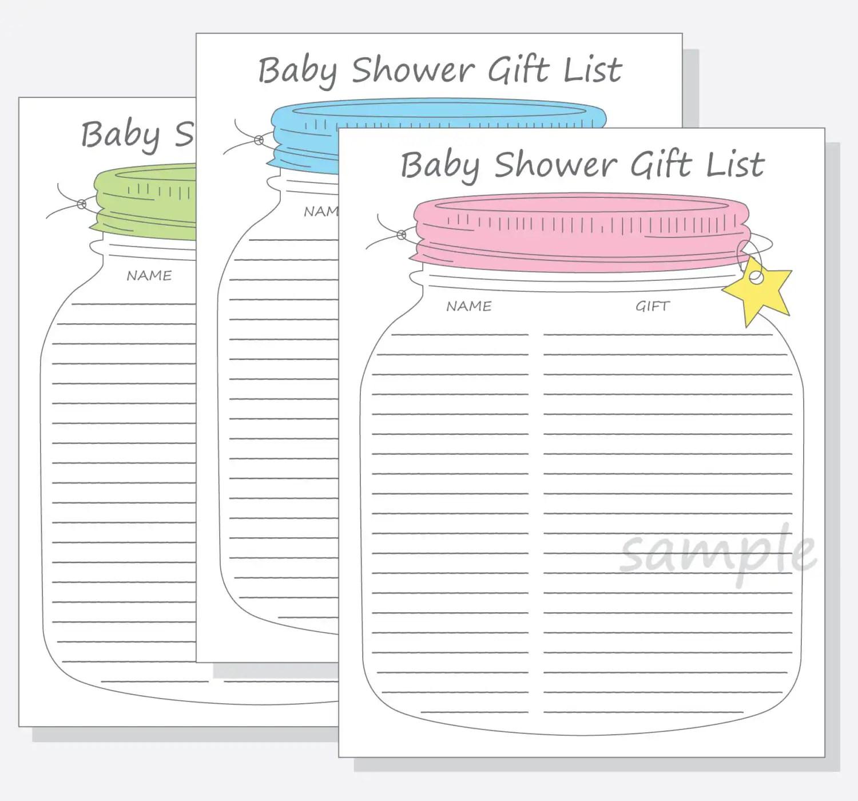 Baby Shower Guest T List Printable Diy Mason Jar Design