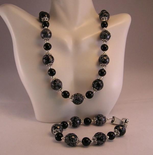 Obsidian Jewelry Set Snowflake Cathyscraftydesign