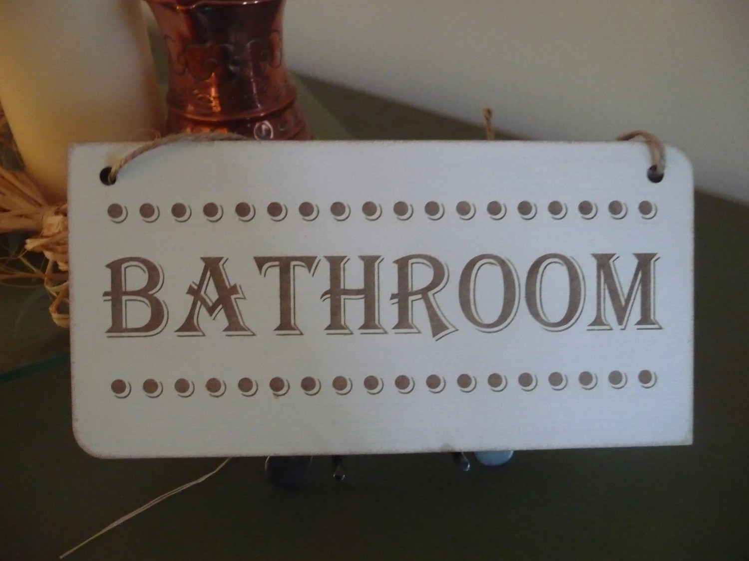 Bathroom Sign Primitive Bathroom Sign Distressed Door Decor