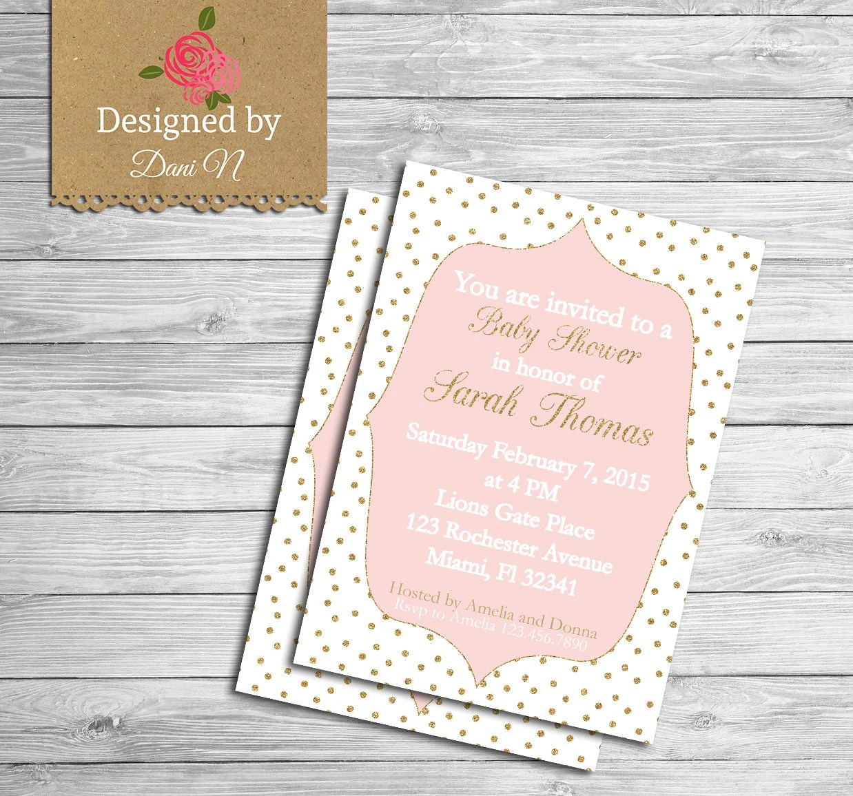 Baby Shower Invitation Glitter Baby Shower Pink And Gold