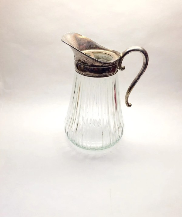 Vintage Silver And Glass Pitcher Plate Lid Water