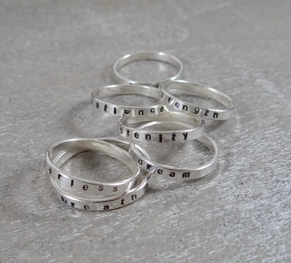 Hand Stamped Sterling Silver Ring Custom Stamping