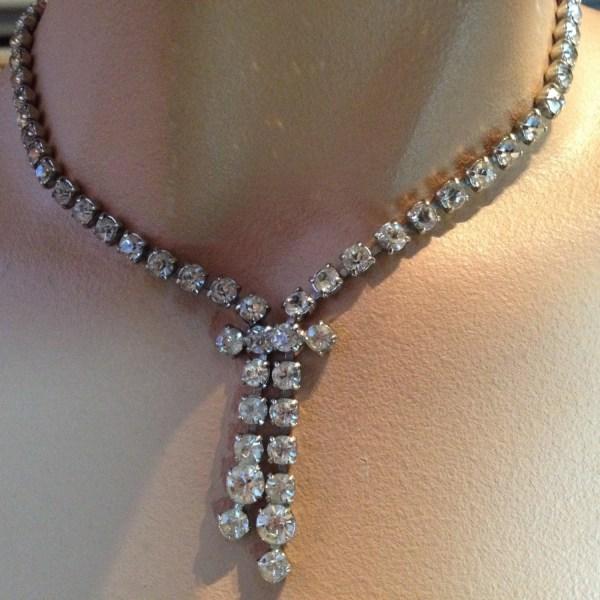 Rhinestone Bow Necklace Vintage 1950s Jewelry